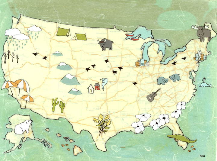 US Map Print New paper planes